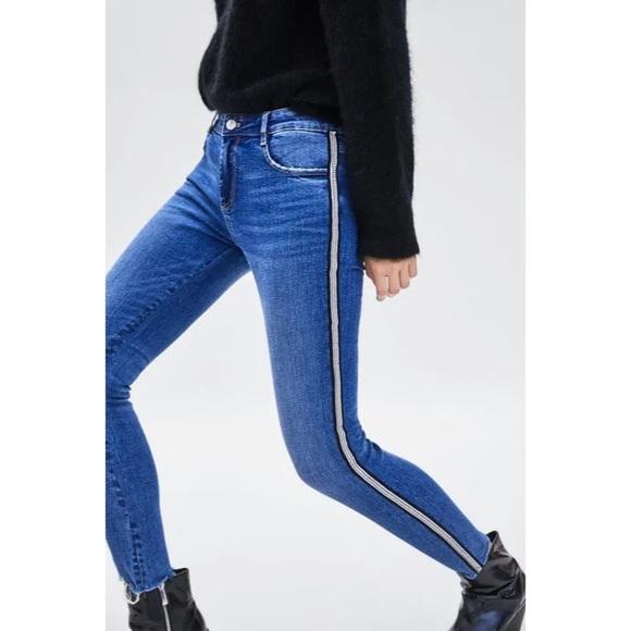 NEW Zara Skinny Silver Beaded Stripe Jeans